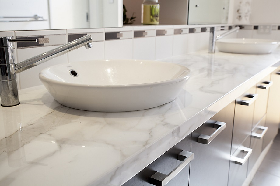 Marble adds a touch of class to this bathroom